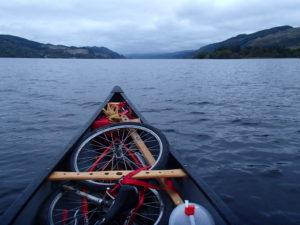 Front of canoe on loch